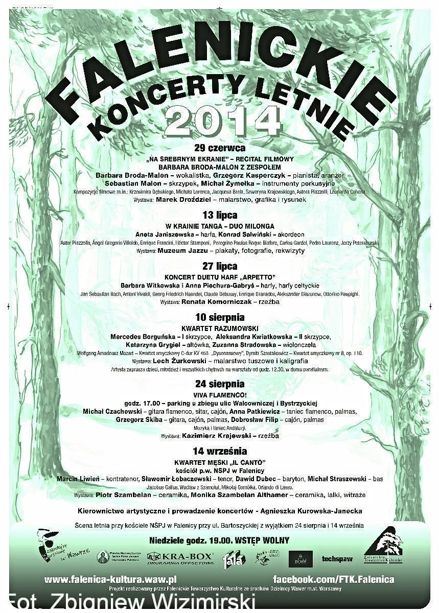 Afisz koncerty letnie 2014
